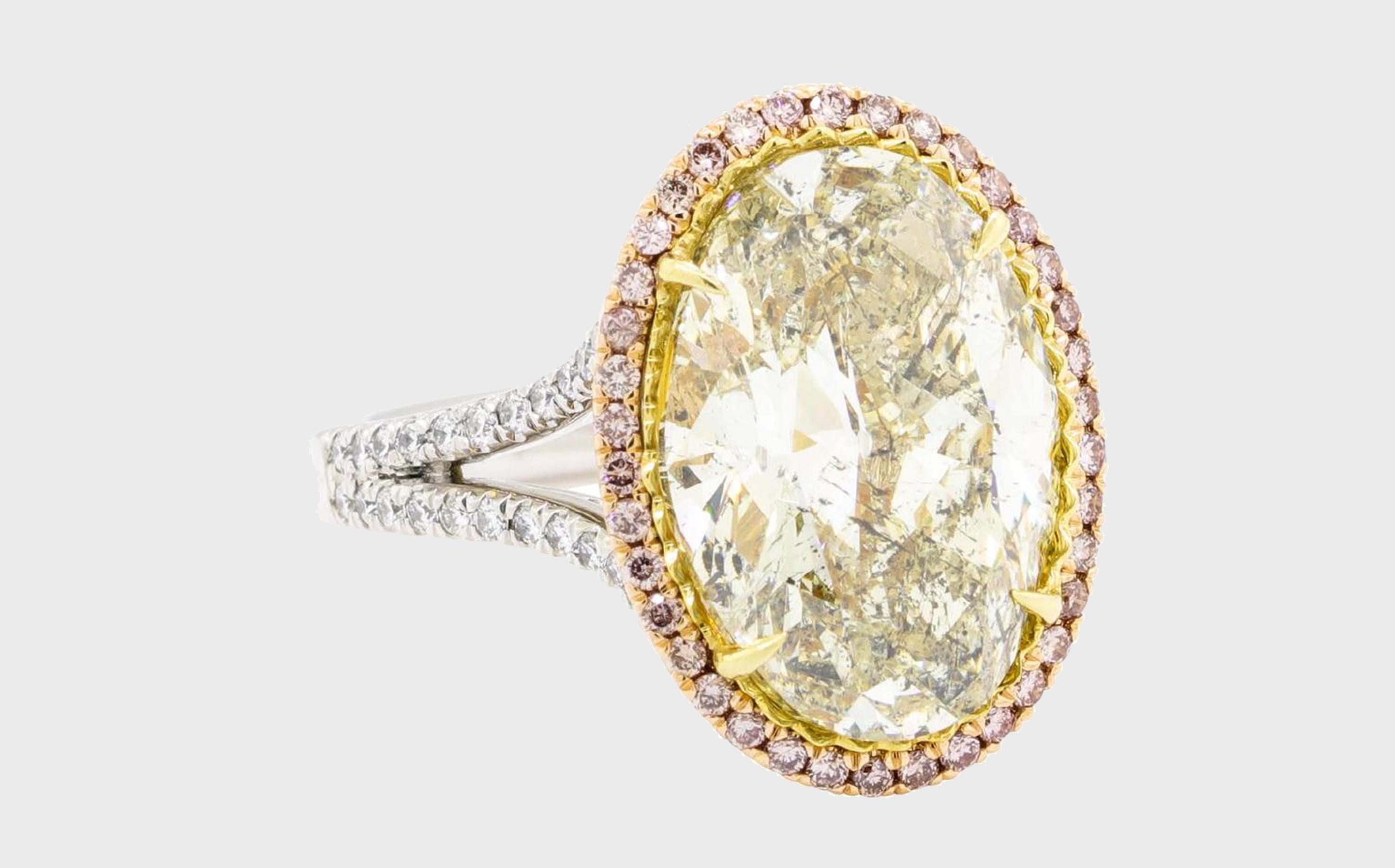 8.04 ctw Center Diamond Ring - Platinum and 18KT Rose