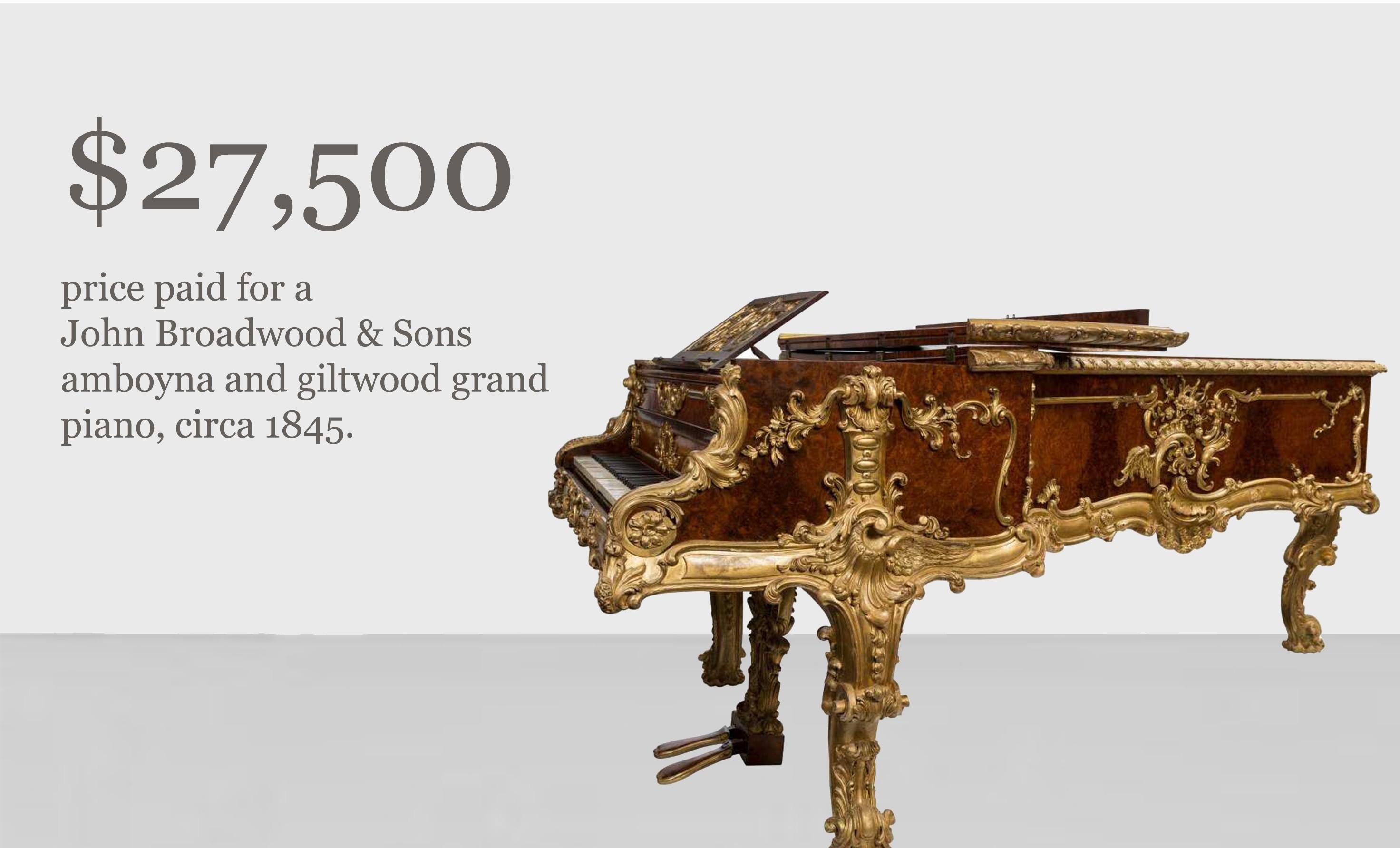 John Broadwood & Sons amboyna and giltwood grand piano
